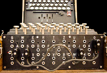 The plugboard (Steckerbrett) was positioned at the front of the machine, below the keys. When in use during World War II, there were ten connections. In this photograph, just two pairs of letters have been swapped (A↔J and S↔O). - Enigma machine