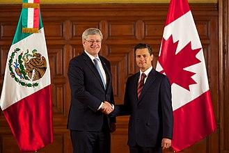 Canada–Mexico relations - Prime Minister Stephen Harper with President Enrique Peña Nieto in March 2014
