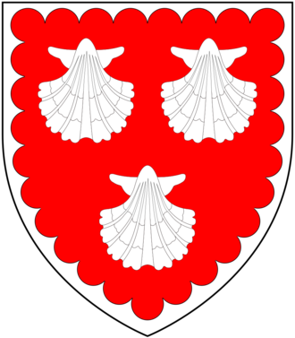 Walter Erle (died 1581) - Arms of Erle: Gules, three escallops argent a bordure engrailed of the last