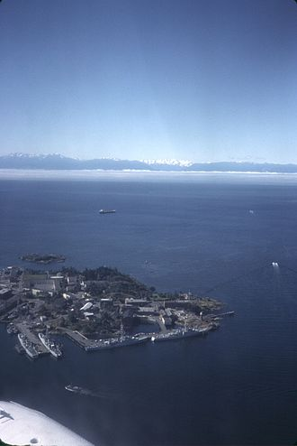 CFB Esquimalt - CFB Esquimalt on Vancouver Island, in the background the Olympic Peninsula.