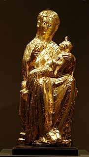 Gold-covered statue of the Virgin and Child in Essen Cathedral, Germany