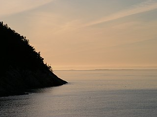 body of water at the mouth of St Lawrence river, in Quebec, in Canada