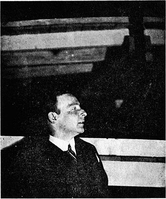 Frederick John Kiesler - F. Kiesler at the Internationale Ausstellung neuer Theatertechnik, Vienna. 1924.