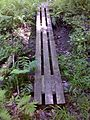 FLT M01 4.2 mi - Puncheon, 12' long, 3 4x4s, 6x6 sills, near abandoned Wolf Run Rd - panoramio.jpg