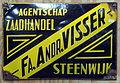 Fa Andr Visser, Agentschap Zaadhandel Steenwijk, emaille reklame bord.JPG