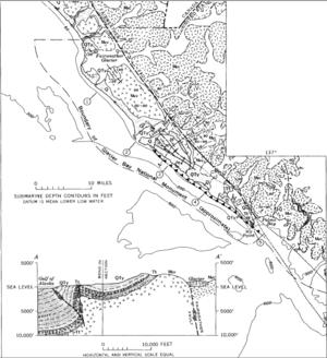 Fairweather Glacier - Geologic map showing the Fairweather Glacier in the upper left
