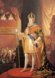 Emperor Pedro II in regalia, in the opening of the annual session of the Brazilian Imperial Parliament (General Assembly), 1873.