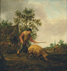 Farmer returning from market with a pig