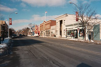 Farmington, Michigan - Looking west on Grand River Avenue toward the intersection with Farmington Road. The Farmington Civic Theatre is on the right side of the street.