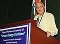 "Farooq Abdullah addressing at the releasing of the report on ""Green Energy Corridors"" for transmission infrastructure requirement and other related services for integration of large scale envisaged renewable generation into.jpg"