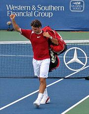 Federer in Cincinnati during the 2005 US Open Series.