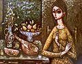 Femme avec mandoline et coupe de fruits par Enrico Campagnola.jpg