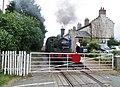 Finghall Lane railway station, J72 Class 'Joem' taking on water, Wensleydale Railway, Yorkshire, England.jpg