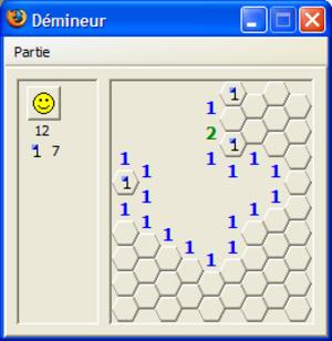 Minesweeper (video game) - Image: Firefox Hexagon Minesweeper fr