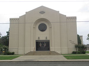 West Carroll Parish, Louisiana - First Baptist Church in Oak Grove is one of the larger congregations in West Carroll Parish, located across from Oak Grove City Hall; pastor Randy J. Messer (since 1993)