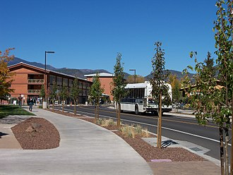 "Bus rapid transit - Dedicated ""bus street"" through Northern Arizona University in Flagstaff, Arizona, U.S., used by university and city buses only"