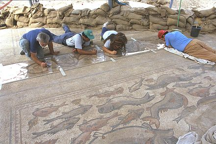 Archaeologists working on mosaic floor Flickr - Government Press Office (GPO) - Archeologists.jpg