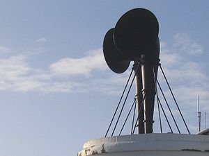 Foghorn - Foghorns near Lizard Point, Cornwall. This installation uses a siren to produce sound.