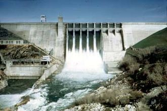 Central Valley Project - Folsom Dam spilling during a flood