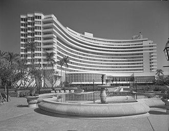 Fontainebleau Miami Beach - Fontainebleau Hotel in a March, 1955, photo by Samuel Gottscho