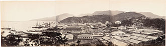Colonist (1861) - Panorama of the Foochow Arsenal showing the shipyard, harbour, buildings and a building site, Mamoi (now Mawei), near Foochow (now Fuzhou),between 1867 and 1871 2 to 5 years after the Colonist visited