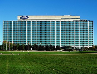 """<a href=""""http://search.lycos.com/web/?_z=0&q=%22Ford%20Motor%20Company%22"""">Ford Motor Company</a> World Headquarters in Dearborn, known as the <em>Glass House</em>"""
