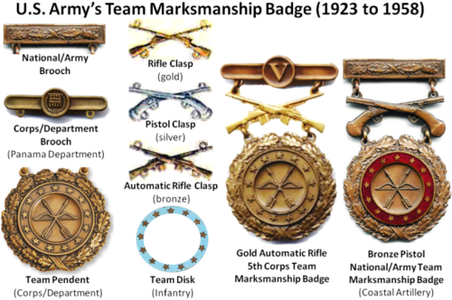 The Army Team Marksmanship Badges were replaced by the Army EIC Badges in 1958
