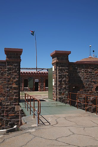 Pretoria Forts - Fort Klapperkop main entrance and dry-moat with the flag of the Transvaal above the battlements.