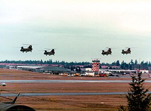 Gray Army Airfield - Chinook helicopters over Gray Army Airfield at Ft. Lewis in 1977