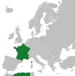 Metropolitan France is shown in dark green, with the Saarland, under French administration until its accession to West Germany on New Year's Day 1957, depicted in light green