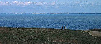 English Channel - The Strait of Dover viewed from France, looking towards England. The white cliffs of Dover on the English coast are visible from France on a clear day.