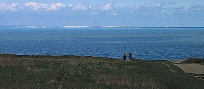 The cliffs seen across the channel from Cap Gris Nez, France