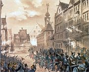 Storming of the barricade at Konstablerwache, 18th September 1848; lithograph by E.G. after a drawing by Jean Nicolas Ventadour.