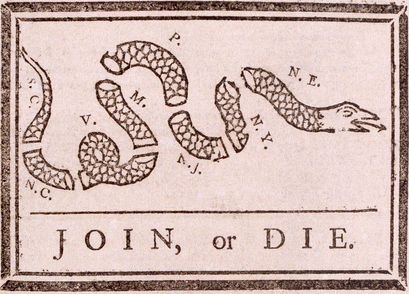 Cartoon attributed to Benjamin Franklin: Join or Die