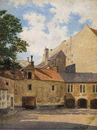 Frederik Vermehren - The Courtyard of Thott Mansion. (1845) Hirschsprung Collection.