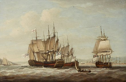 Captive French ships after the battle by Dominic Serres French Captive Ships 12 April 1782.jpg