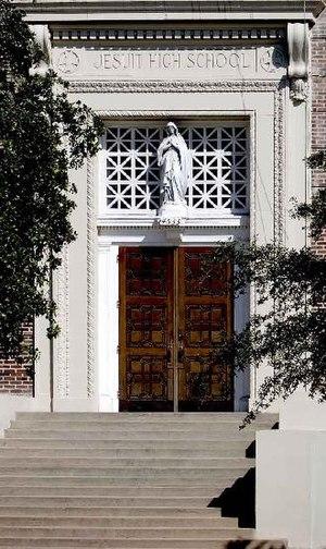 Front doors of Jesuit High School.