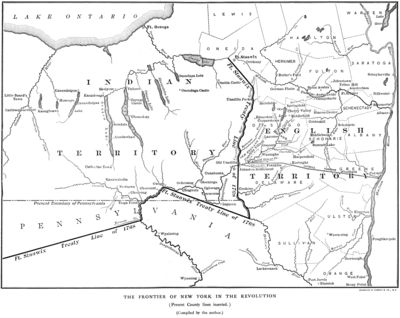 A portion of the 1768 Fort Stanwix Treaty line, showing the boundary in New York