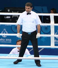 Fuad Aslanov as a referee. Nicola Adams vs Sandra Drabik - 2015 European Games - Final.JPG