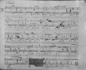 """Preludes (Chopin) - Autograph of the first page of his Prelude no. 15, the """"Raindrop"""""""