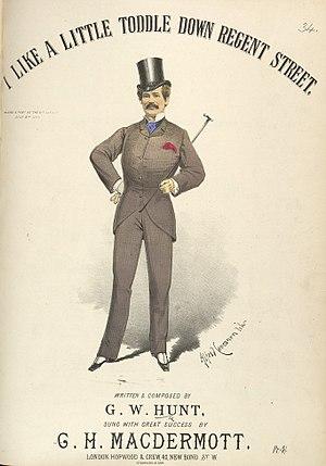 G. H. MacDermott - G. H. MacDermott on a sheet music cover by Alfred Concanen (1882)