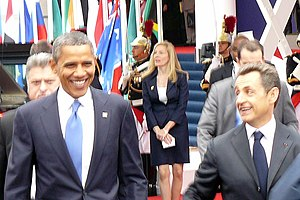 2011 G20 Cannes summit - Nicolas Sarkozy welcomes Barack Obama to the G20 meeting in Cannes, France, on 3 November.