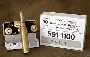 7.5×55mm Swiss - Swiss Army issue 10-round GP 11 pack.
