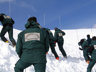 Civil Guard (Spain) - A mountain rescue group (GREIM) from the Civil Guard in an avalanche rescue training exercise.