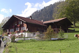 Jakob Ammann - The new house built in 1955 with the barn from the 17th century on the left