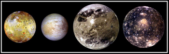 The Galilean moons (from left to right: Io, Europa, Ganymed and Callisto)