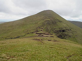 Galtymore - Galtymore's eastern summit ridge, and north cliffs (right)