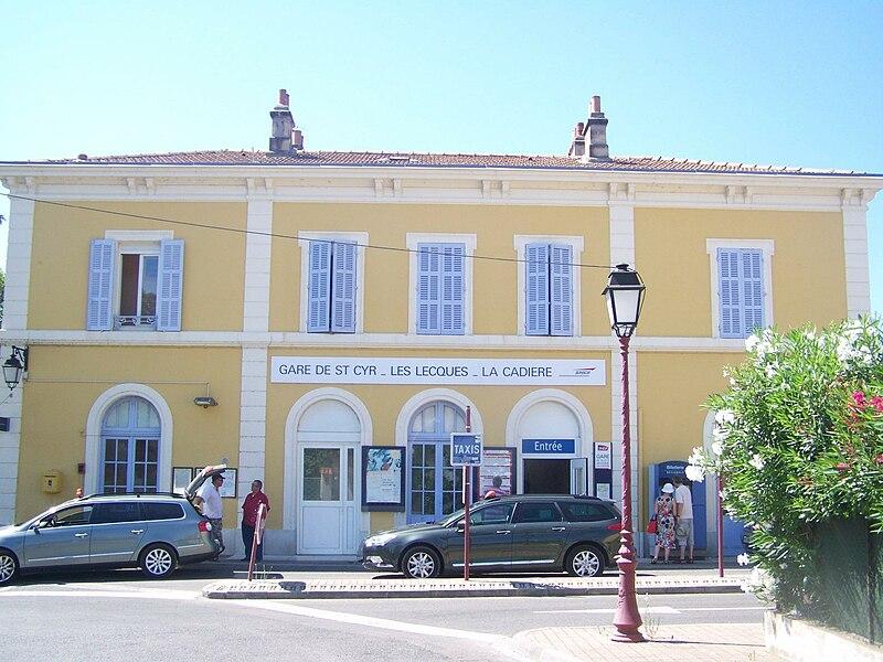 Entrance of little railway station of St-Cyr-sur-Mer in Var, France.