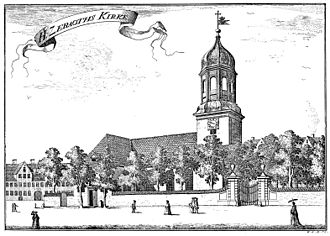 Garrison Church, Copenhagen - Illustration from Pontopidan's Danish Atlas from 1767