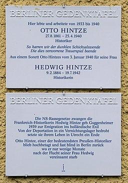 Tablica pamiątkowa na domu w Berlinie, Kastanienallee 28, in Berlin-Westend Otto Hintze